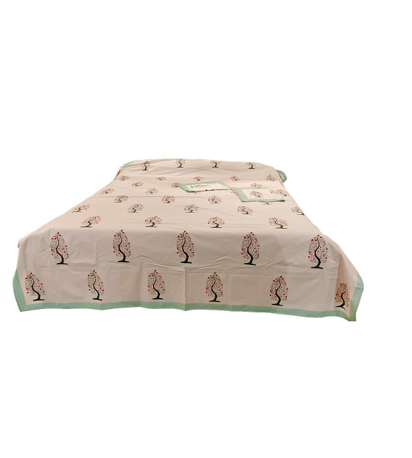 Cotton Hand Block Printed Bed Cover Size 90x108 Inch