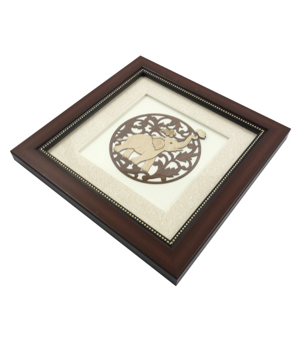 ROUND ELEPHANT 8 X 8 INCH WOODEN ART PICTURES