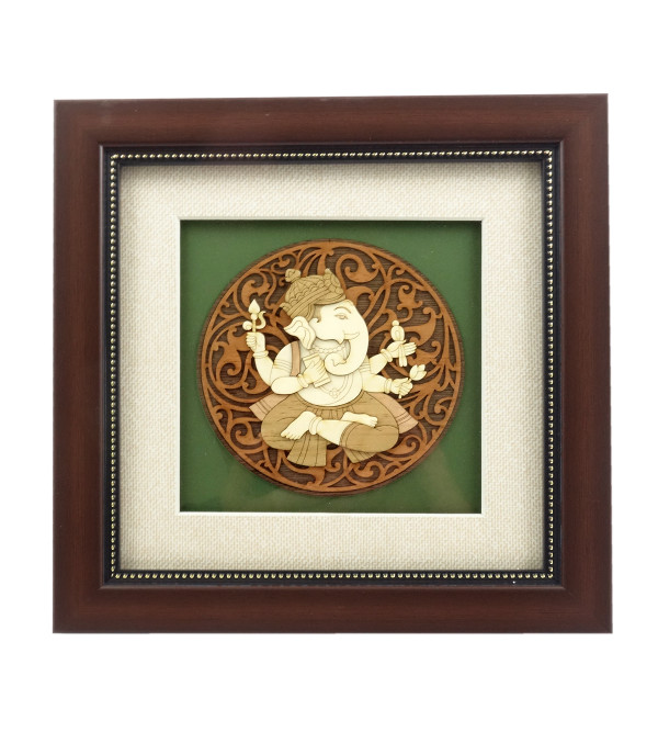 POTHI GANESH 8 X 8 INCH WOODEN ART PICTURES