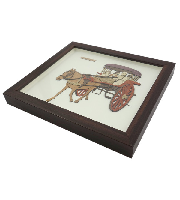 HORSE CART 9 X 10 INCH  WOODEN ART PICTURES