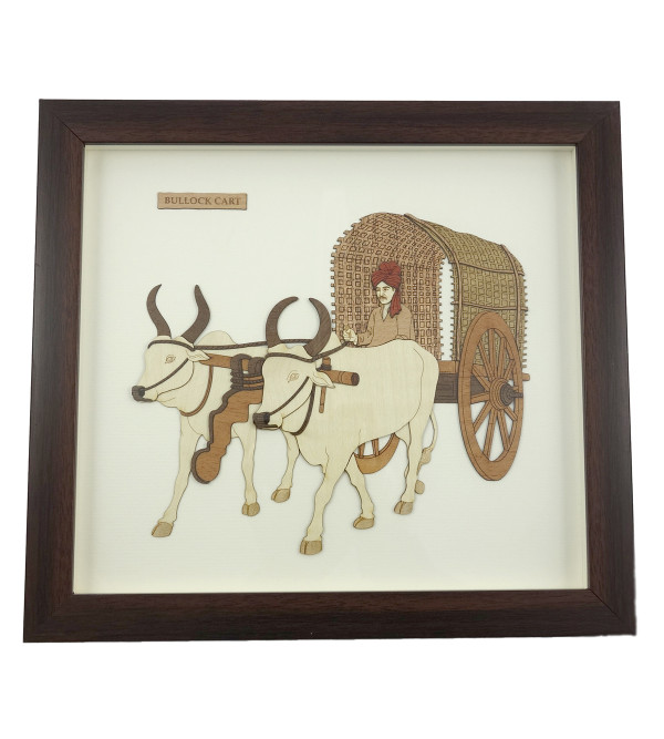BULLOCK CART 9 X 10 INCH WOODEN ART PICTURES