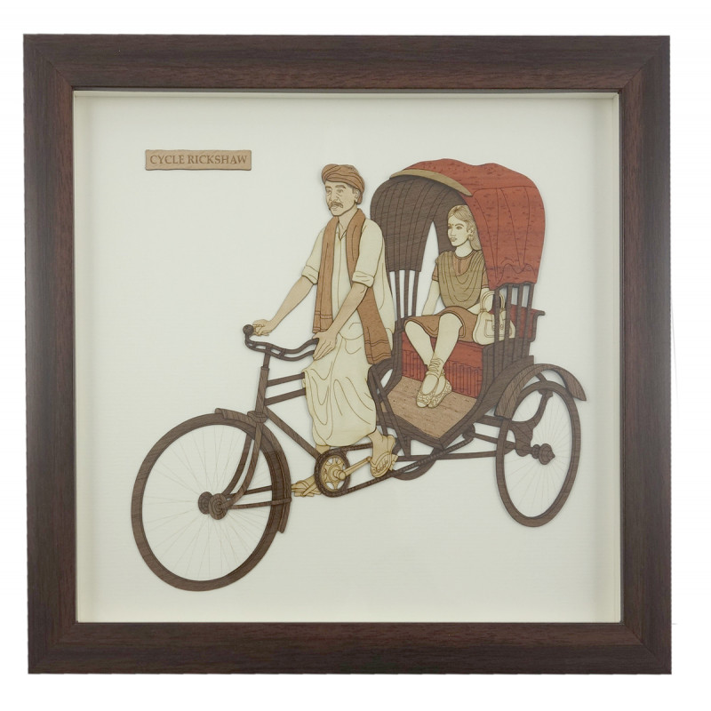 CYCLE RICKSHAW 9 X 10 INCH WOODEN ART PICTURES