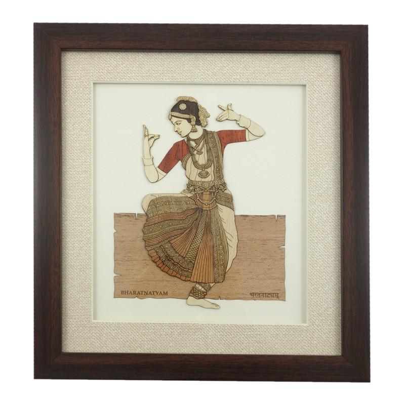 BHARATNATYAM 9 X 10 WOODEN ART PICTURES