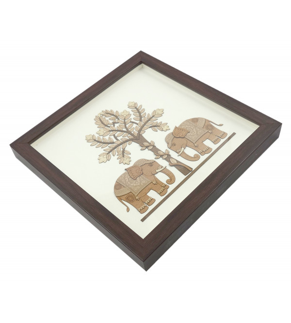 TWO ELEPHANTS 10 X 10 INCH WOODEN ART PICTURES