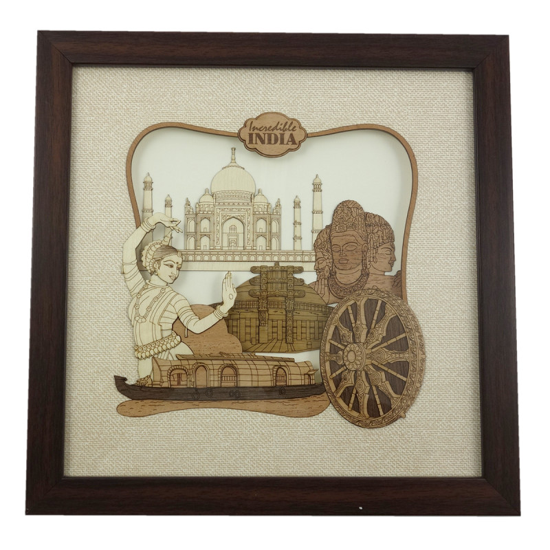 INCREDIBLE INDIA 10 X 10 INCH WOODEN ART PICTURES