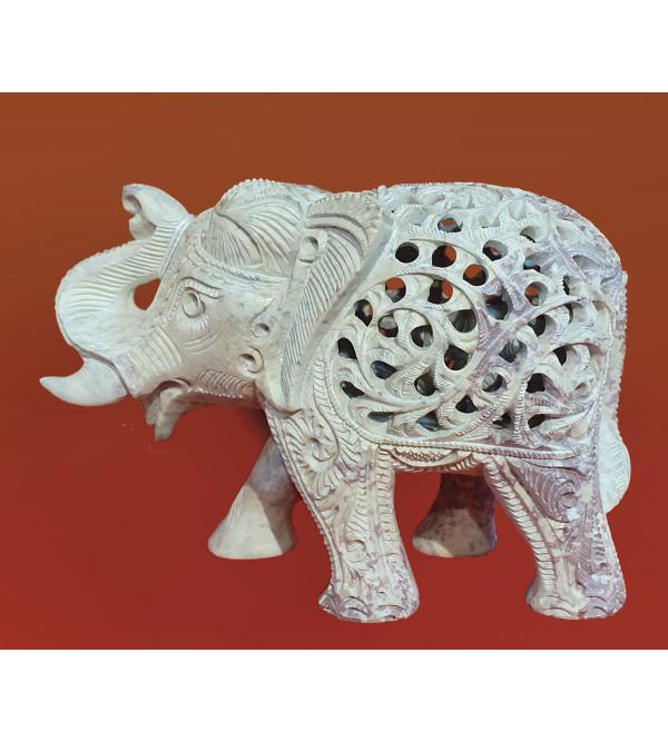 Soap Stone Jali Carved Elephant Size 4 Inch