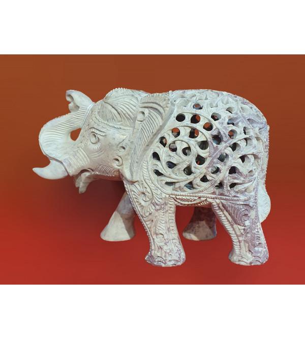 Soap Stone Jali Carved Elephant Size 5 Inch