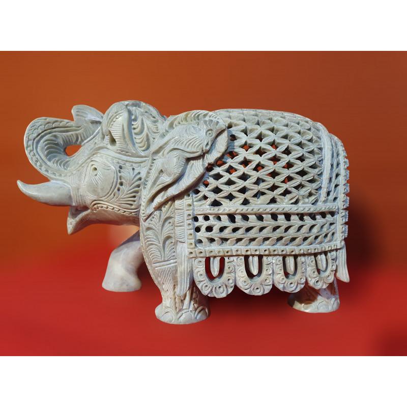 Soap Stone Undercut Jali Elephant Size 7x4 Inch