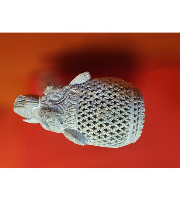 Soap Stone Undercut Jali Elephant Size 5x3 Inch