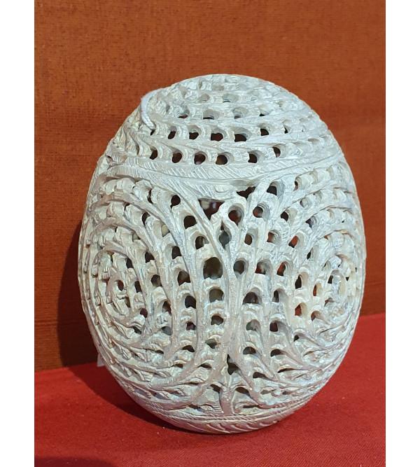 Soap Stone Undercut Jali Egg Size 3 Inch
