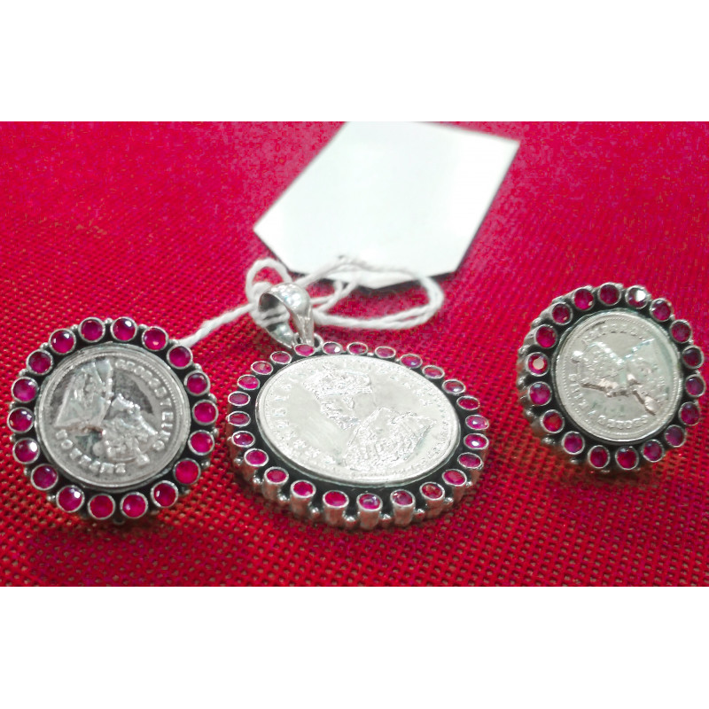 92.5 SILVER PENDENT EARRING RUBY