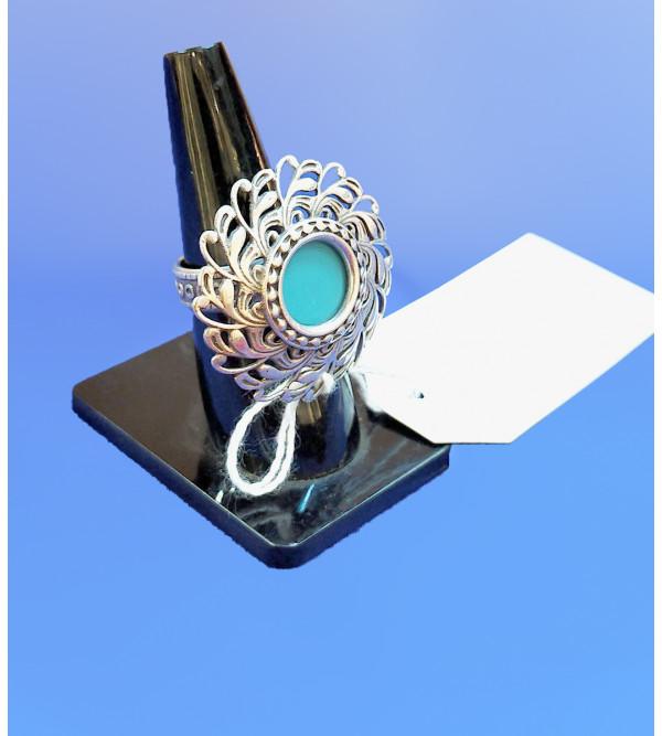 92.5SILVER RING BLUE STONE FIROZA BLUE
