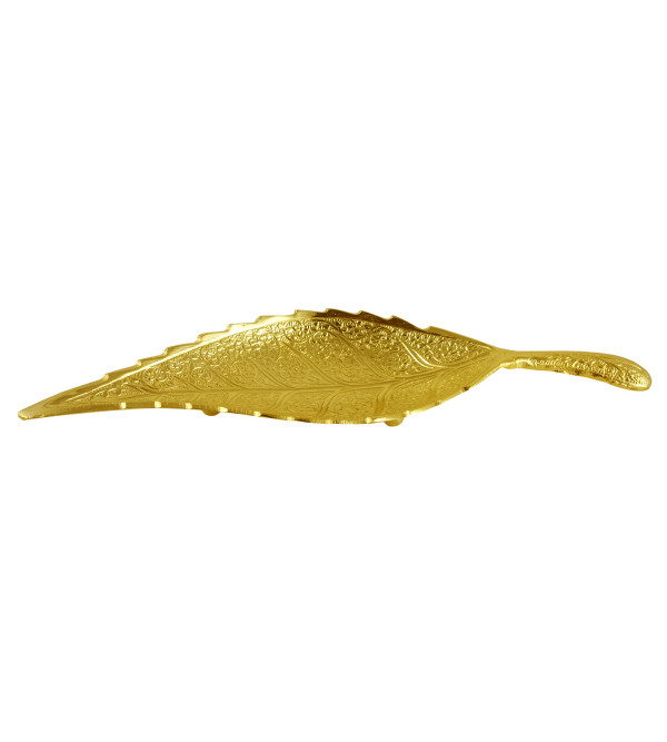 HANDICRAFT Leaf Brass Gold Plated 10 INCH