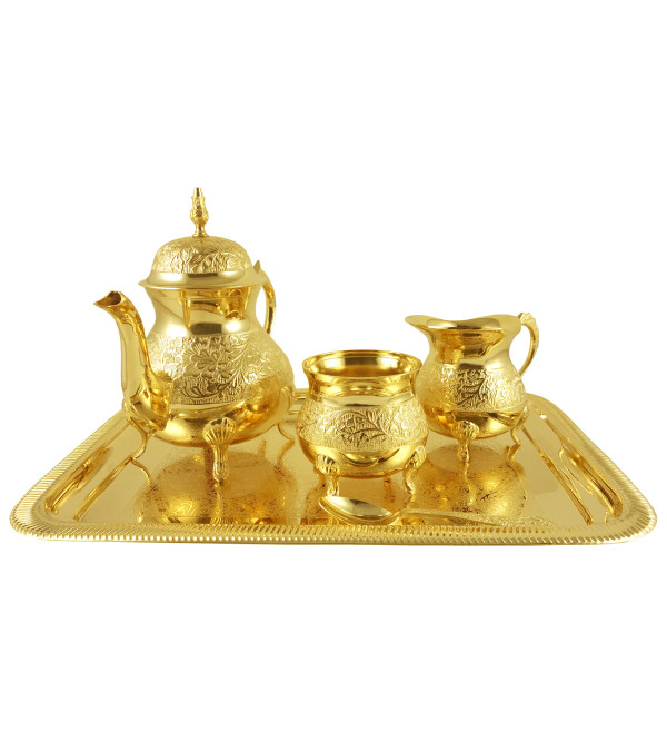 HANDICRAFT BRASS TEA SET GOLD PLATED  4 PCS SET