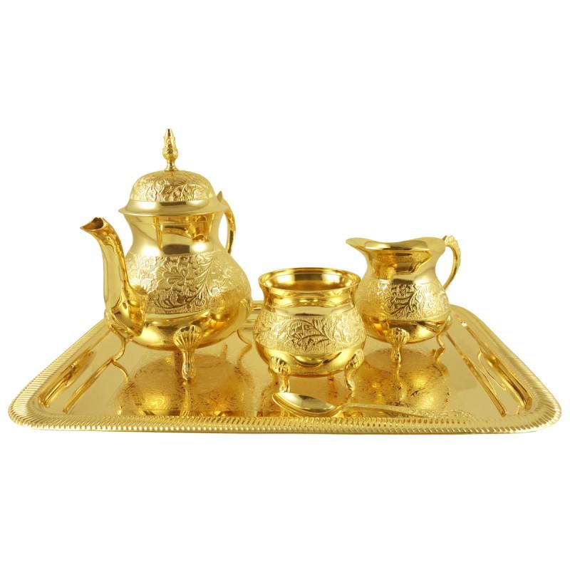 HANDICRAFT BRASS TEA SET GOLD PLATED  4 PCS SET