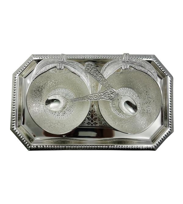 Handicraft Brass Silver Plated Apple Bowl Set 5 Pcs