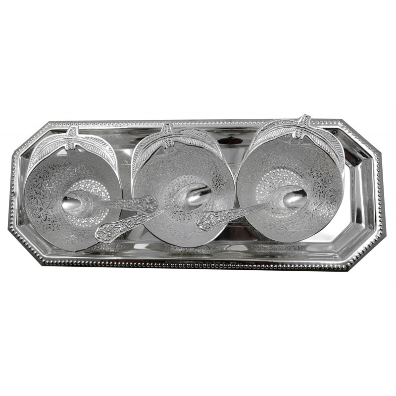 Handicraft Brass Silver Plated Bowl Tray with Spoon 7 Pcs SET