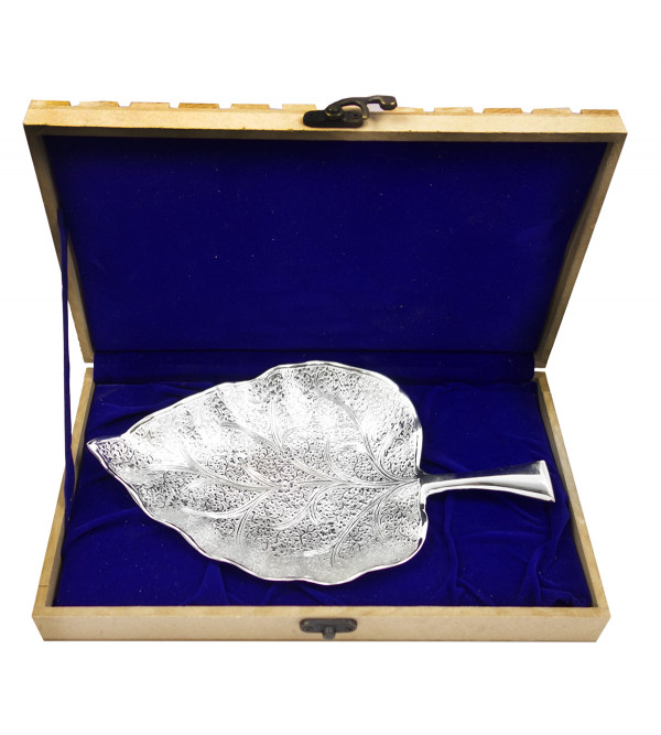 Handicraft Brass Silver Plated Pipal Leaf