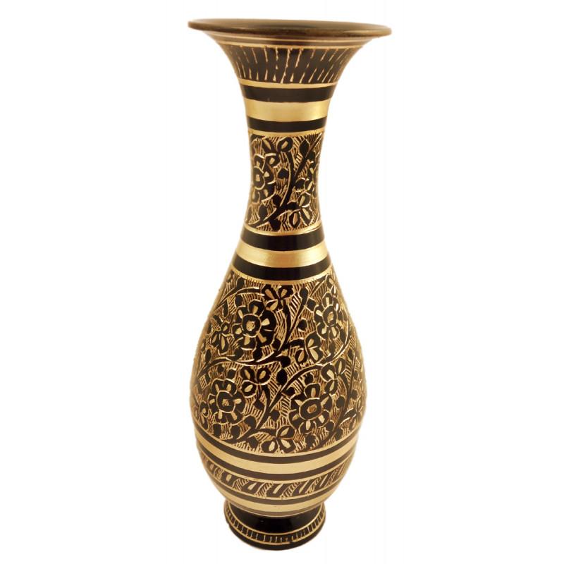 Handicrft Brass Sharas Shape Black Enamelled Flower Vase 7 Inch