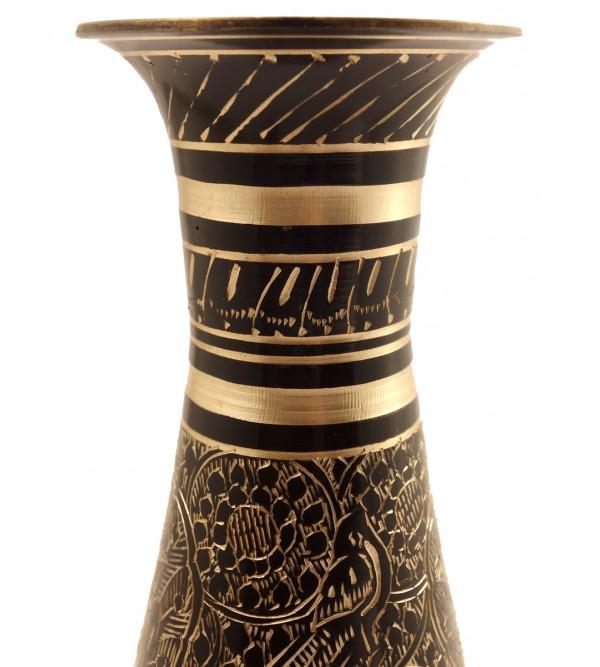 Handicrft Brass Glass Shape Col Enamelled Flower Vase 9 Inch
