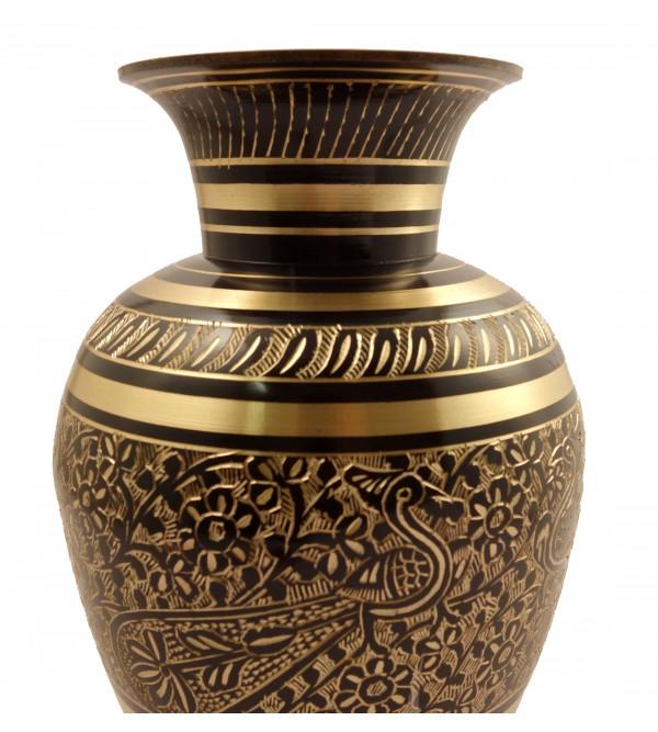 Handicraft Brass Jar Matki Mughal Art Black Enemalled  9.5 Inch