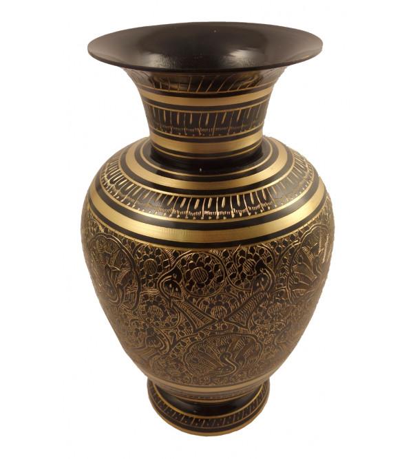 Handicraft Brass Jar Matki Mughal Art Black Enemalled  10.5 Inch