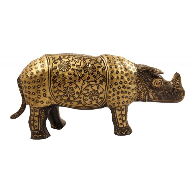 Handicraft Brass Rihnoceros Black Enamel 14 Inch