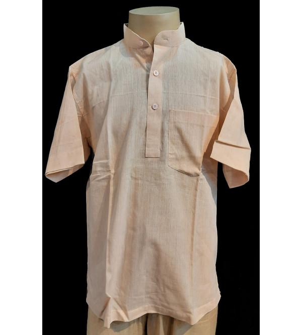 Plain Cotton Short Kurta Half Sleeve Size 38 Inch