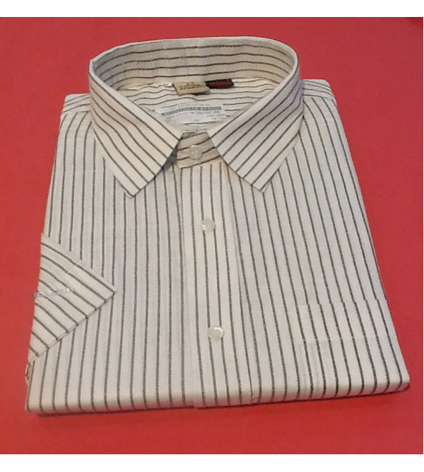 Cotton Stripe Shirt Half Sleeve Size 48 Inch