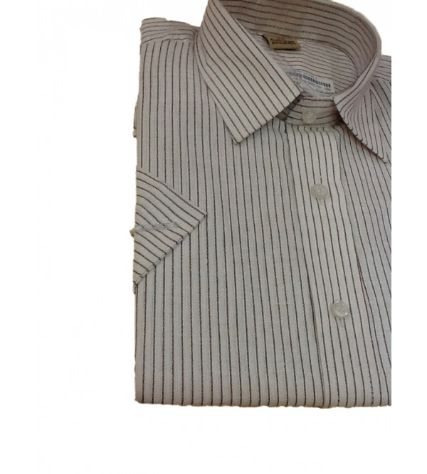 Cotton Stripe Shirt Half Sleeve Size 38 Inch