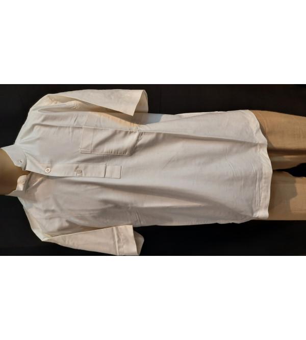 Plain Cotton  Short Kurta Handloom Half Sleeve Size 38 Inch