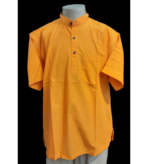 Plain Cotton Short Kurta Half Sleeve Size 42 Inch