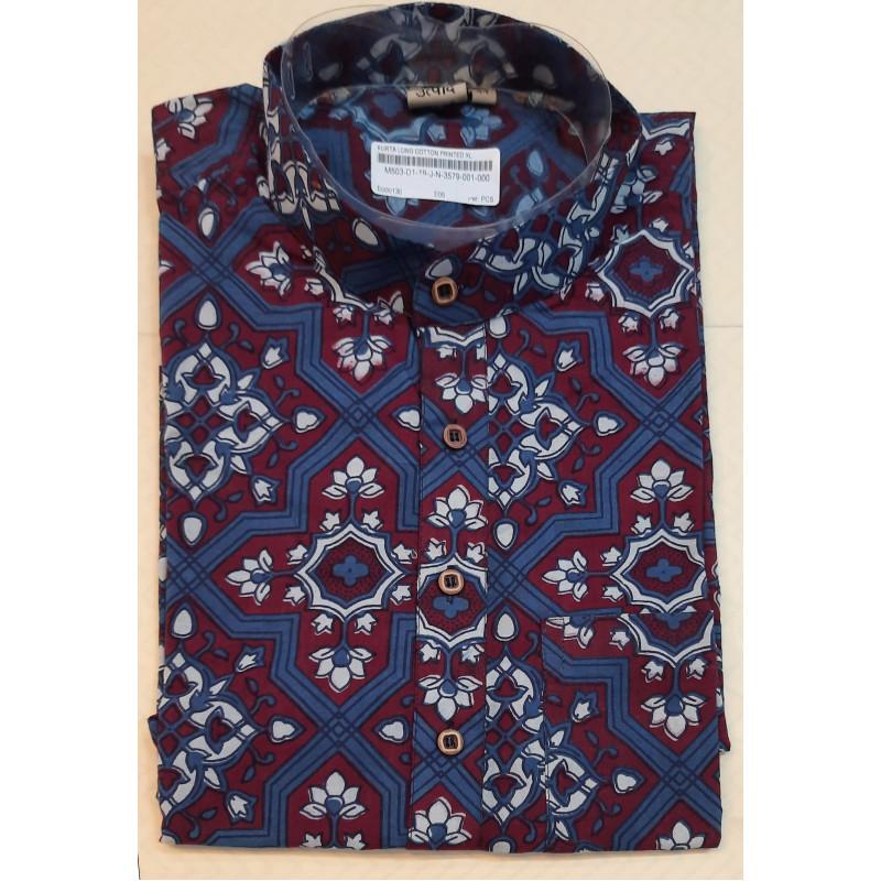 Printed Long Kurta Handloom Full Sleeve Size 44 Inch