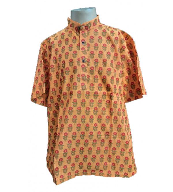 Printed Short Kurta Handloom Half Sleeve Size  Inch42