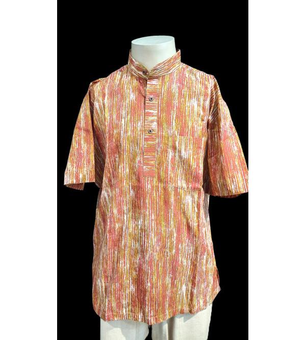 Printed Cotton Short Kurta Half Sleeve Size 40 Inch