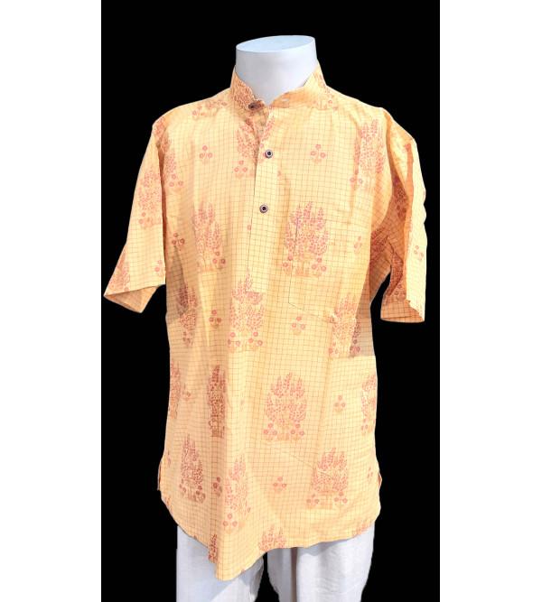 Printed Short Kurta Handloom Half Sleeve Size 40 Inch