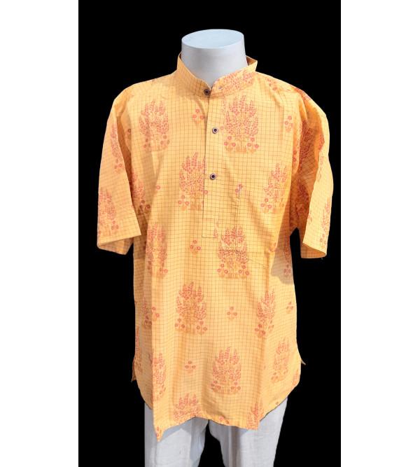 Printed Short Kurta Handloom Half Sleeve Size 42 Inch
