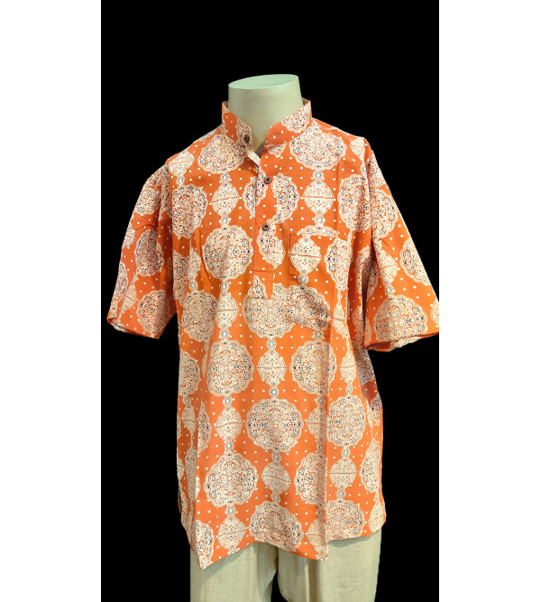 Printed Cotton Short Kurta Half Sleeve Size 42 Inch