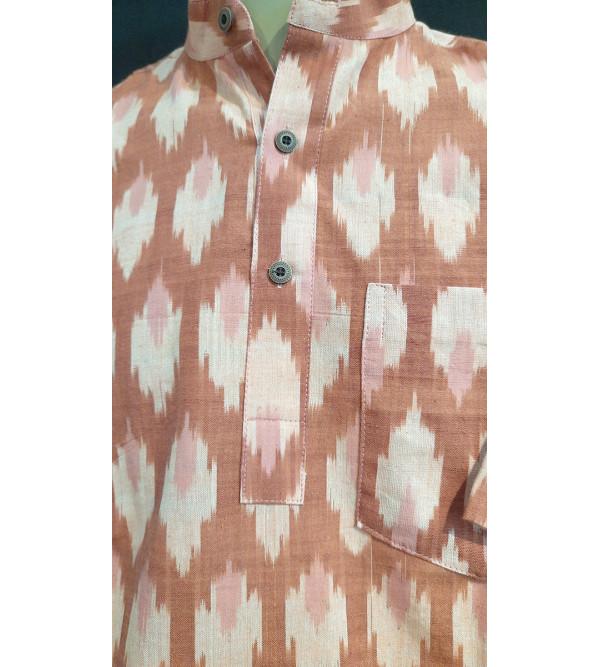 Cotton Ikat Short Kurta Handloom Half Sleeve Size 38 Inch