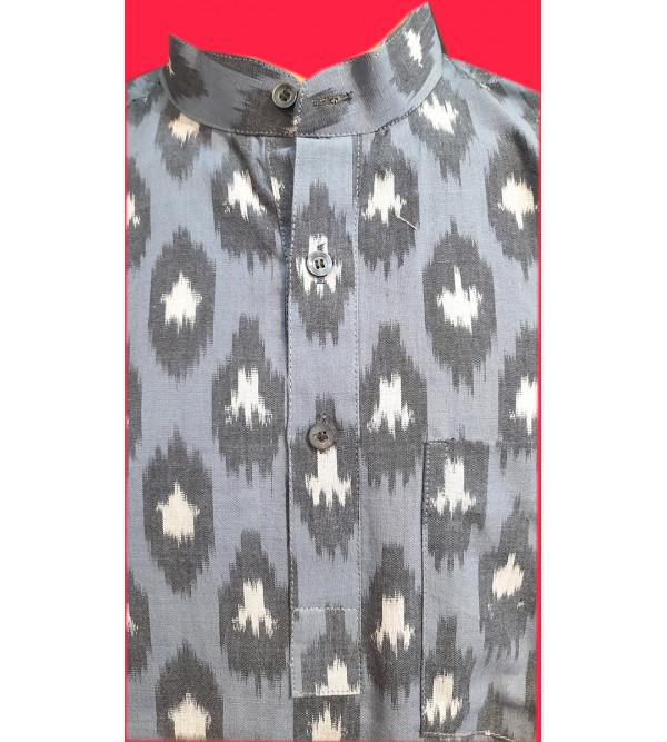 Cotton Ikat Short Kurta Handloom Half Sleeve Size 42 Inch