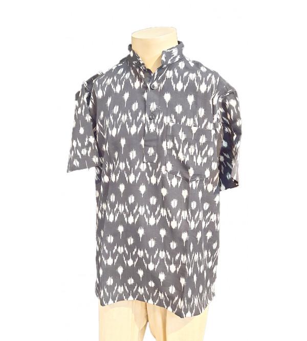 Cotton  Ikat Short Kurta Handloom Half Sleeve Size 40 Inch