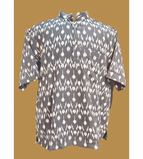Cotton Ikat Short Kurta Handloom Half Sleeve Size 46 Inch