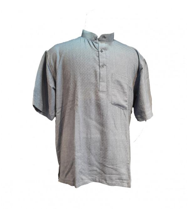 Plain Cotton Short Kurta Half Sleeve Size 48 Inch