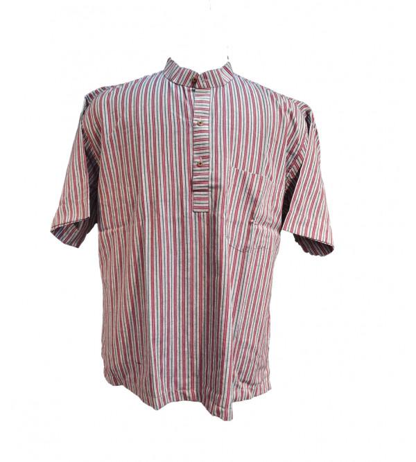 Cotton Stripe Short Kurta Half Sleeve Size 46 Inch