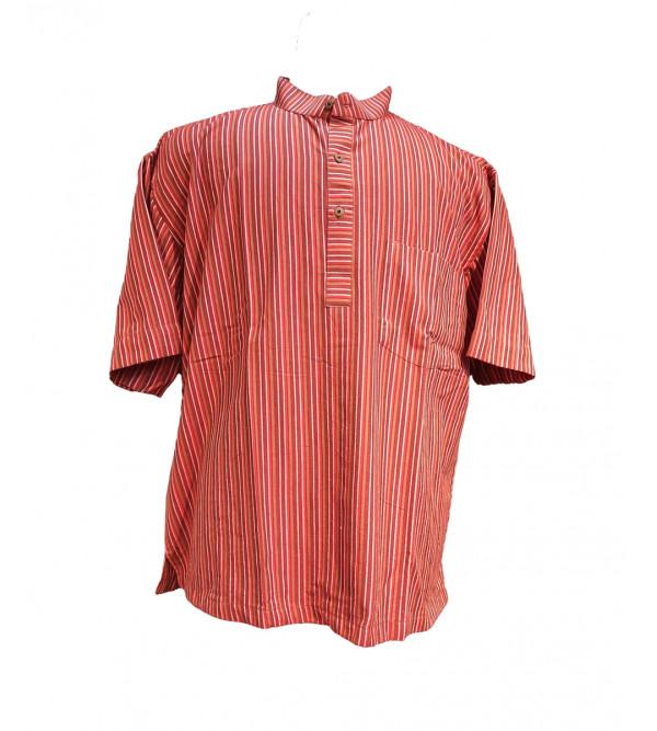 Cotton Stripe Short Kurta Half Sleeve Size 48 Inch