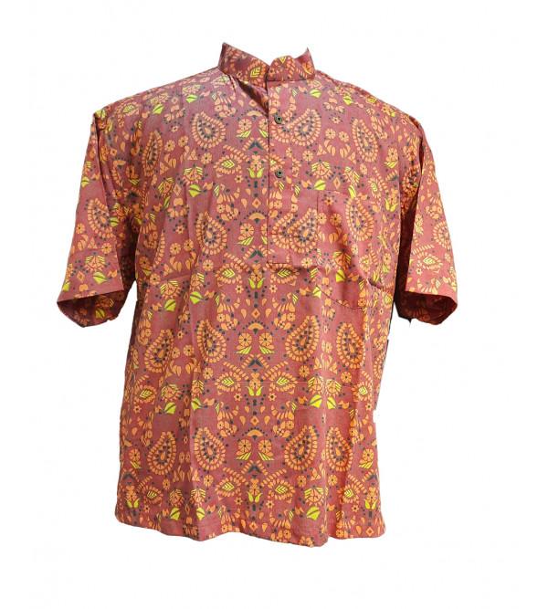 Printed Cotton Short Kurta Half Sleeve Size 46 Inch