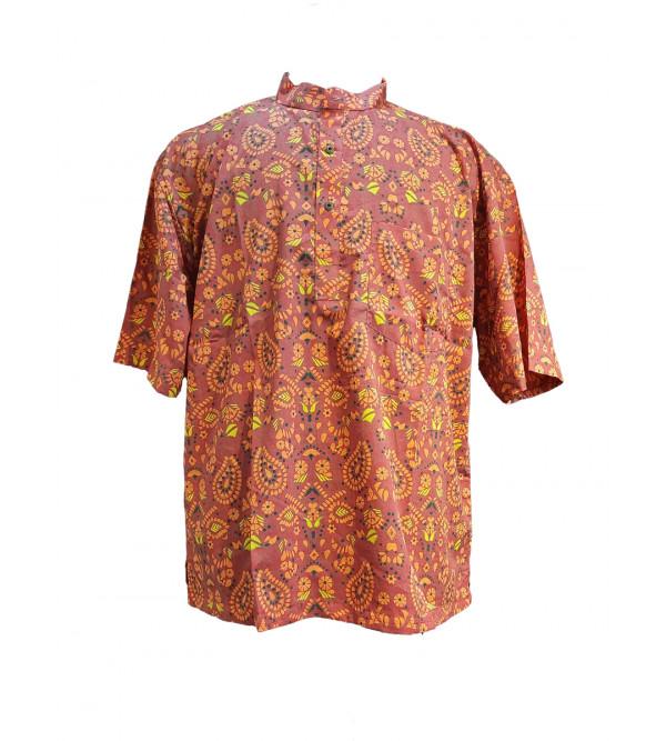 Printed Cotton Short Kurta Half Sleeve Size 48 Inch