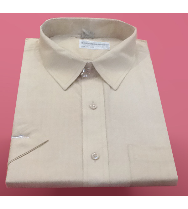 Cotton Plain Shirt Half Sleeve Size 48 Inch