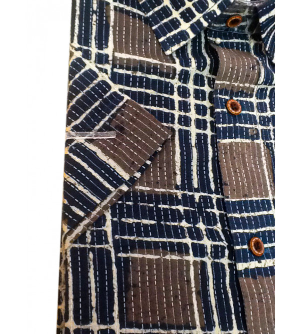 Cotton Check Shirt Half Sleeve Size 40 Inch