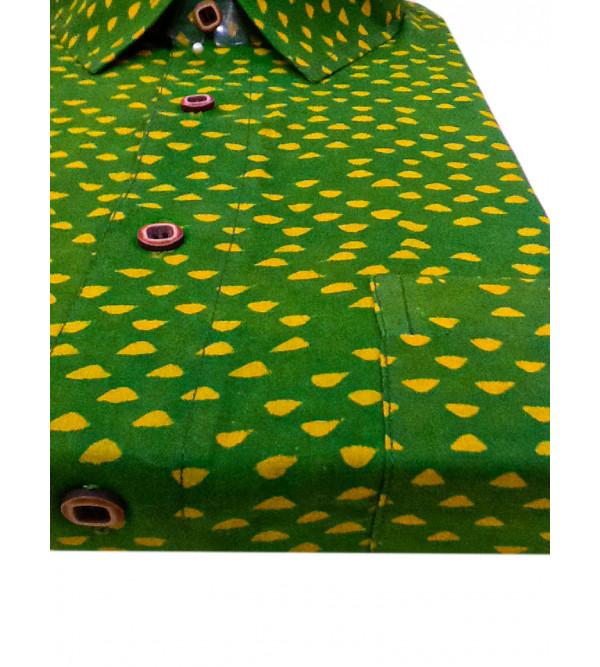 Akola Printed Shirt Handloom Half Sleeve Size 42 Inch